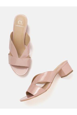 Carlton London Women Pink Solid Patent Finish Block Heels