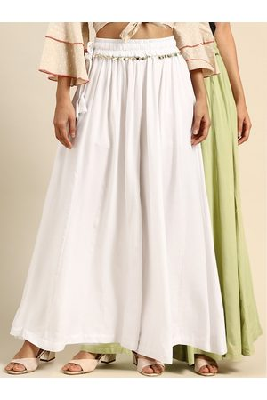 Tag 7 Women White & Green Solid Flared Palazzos