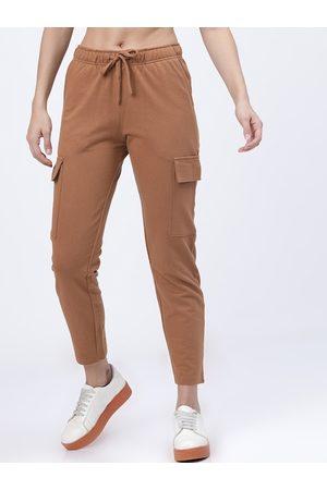 Tokyo Talkies Women Tan Brown Solid Slim-Fit Casual Track Pants