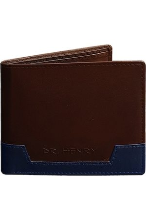 DR. HENRY Men Brown & Navy Blue Colourblocked Genuine Leather Two Fold Wallet