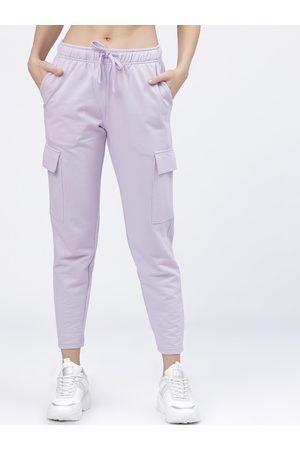 Tokyo Talkies Women Lavender Solid Slim-Fit Track Pants