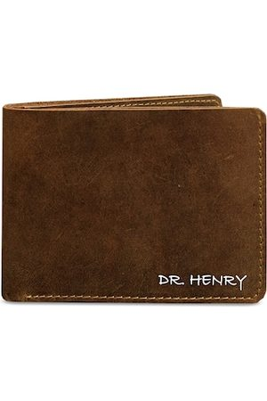 DR. HENRY Men Brown Solid Genuine Leather Two Fold Wallet