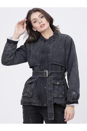 Tokyo Talkies Women Black Printed Denim Jacket