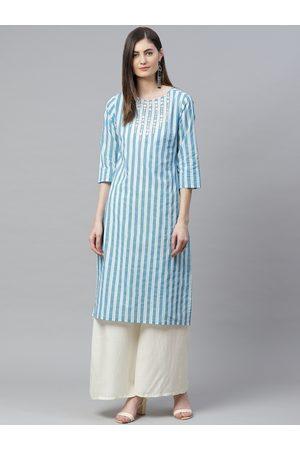 Yash Gallery Women Blue & White Striped Straight Gotta Patti Kurta