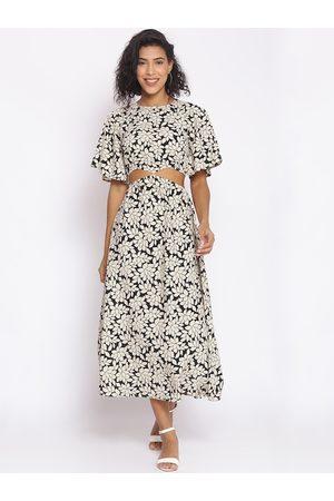 Cottinfab Women Black Printed Maxi Dress