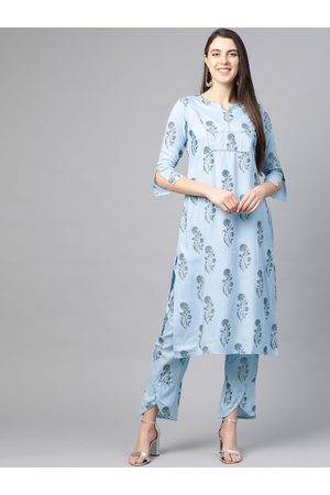 Yash Gallery Women Blue & Green Yoke Design Kurta with Trousers