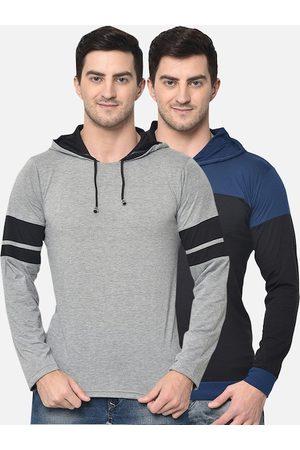 VIMAL JONNEY Men Pack of 2 Colourblocked Hood T-shirt