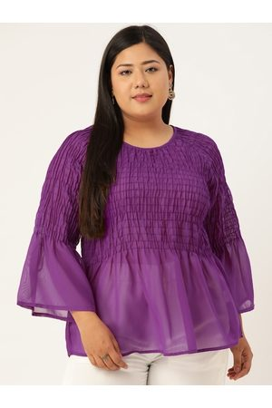 Revolution Plus Size Purple Sheer Smocked A-Line Top