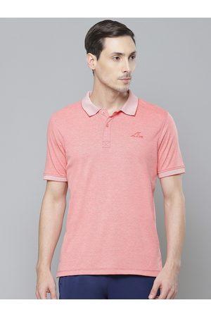Alcis Men Peach-Coloured Solid Polo Collar T-shirt