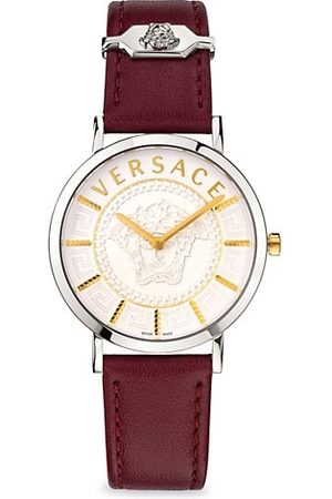 VERSACE V Essential Stainless Steel & Leather-Strap Watch