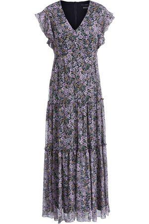 SET Women Printed Dresses - Set Dress Maxi in Black Violet Floral mix 72299