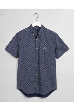 GANT Classic Blue Regular Fit Short Sleeve Micro Dot Shirt 3012271