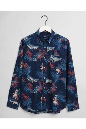 GANT Regular Fit Surf Palm Print Indigo Shirt 3033830