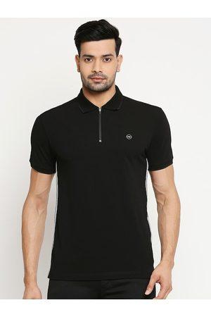 Mufti Men Short Sleeve - Men Black Solid Polo Collar T-shirt