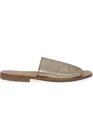 Moma Gold Leather Slip On Loafer
