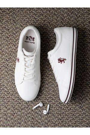 Red Tape Men White Solid Sneakers