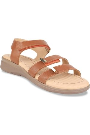 Scholl Women Flats - Women Brown Solid Leather Open Toe Leather Flats