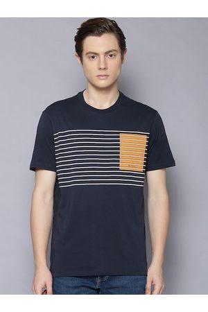 Ben Sherman Men Navy Blue Striped Round Neck T-shirt