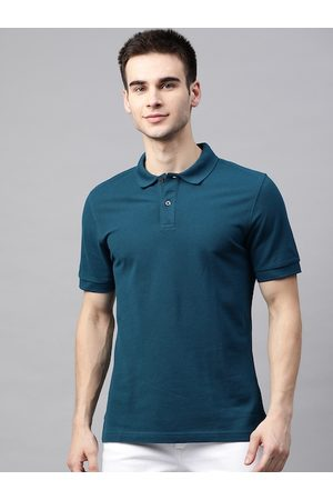 Marks & Spencer Men Teal Green Pure Cotton Solid Polo Collar T-shirt