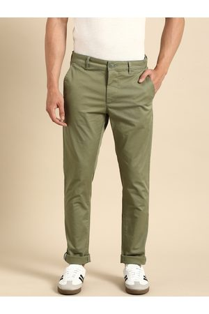 Being Human Clothing Men Olive Green Regular Fit Solid Chinos