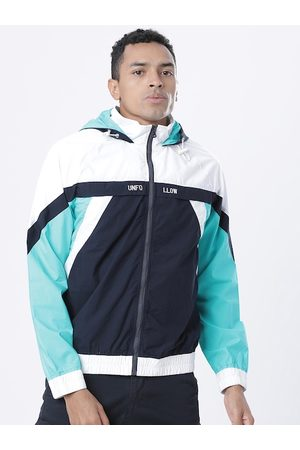 Highlander Men Navy Blue & White Colourblocked Lightweight Sporty Jacket