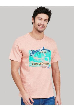 Beverly Hills Polo Club Men Peach-Coloured Printed Round Neck T-shirt