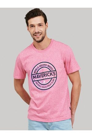 Beverly Hills Polo Club Men T-shirts - Men Pink Self Design Round Neck T-shirt