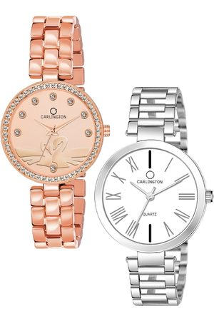Carlington Unisex Set Of 2 Multicoloured Analogue Watches Duck RoseGold & 112 Silver