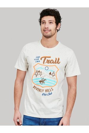 Beverly Hills Polo Club Men White Printed Cotton Round Neck T-shirt
