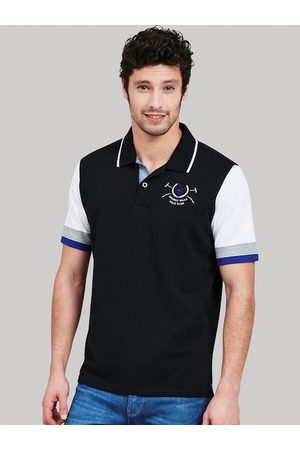 Beverly Hills Polo Club Men Black Colourblocked Polo Collar T-shirt