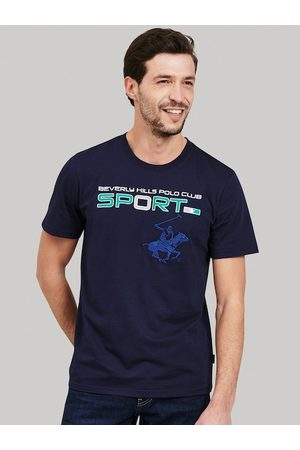 Beverly Hills Polo Club Men Navy Blue Printed Round Neck T-shirt