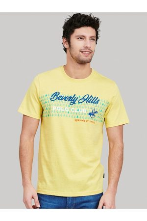Beverly Hills Polo Club Men Short Sleeve - Men Yellow Printed Cotton Round Neck T-shirt