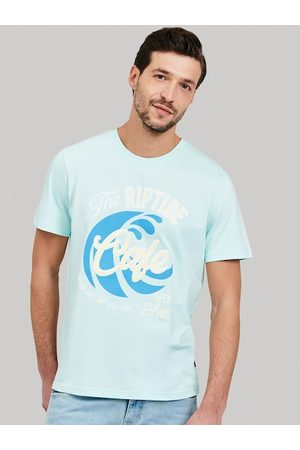 Beverly Hills Polo Club Men Blue Printed Round Neck Cotton T-shirt