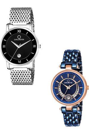 Carlington Unisex Set Of 2 Multicoloured Analogue Watches G02 Mesh & Bella Blue