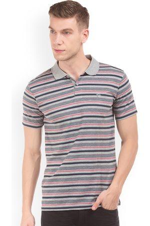 Ruggers Men Short Sleeve - Men Grey Striped Polo Collar T-shirt