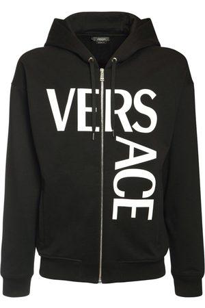 VERSACE Logo Printed Zip Sweatshirt Hoodie