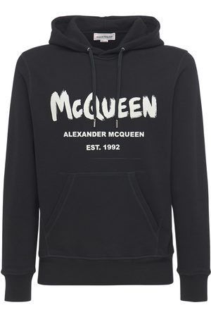 Alexander McQueen Men Sweatshirts - Graffiti Print Cotton Sweatshirt Hoodie
