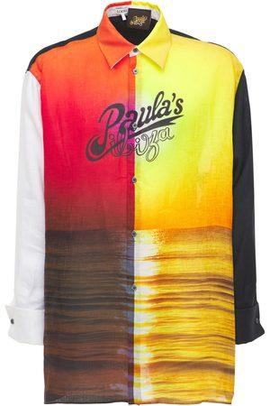 Loewe Men Shirts - Paula Sunrise Print Linen Shirt