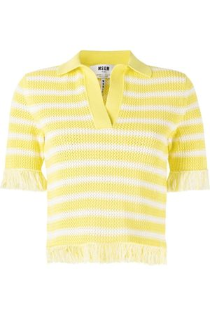 Msgm Fringed knitted polo top