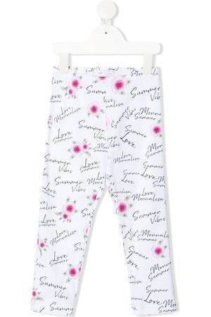 MONNALISA Logo floral print leggings