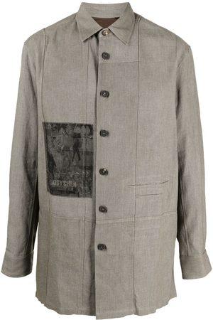 ZIGGY CHEN Men Casual - Logo-patch oversized shirt