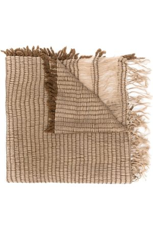 Issey Miyake 2000s woven fringed scarf
