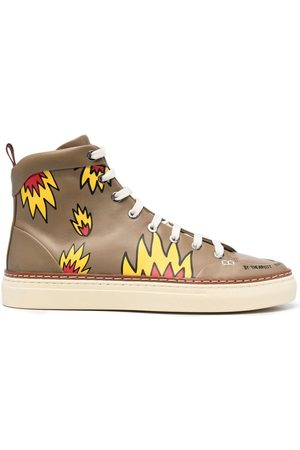 Bally Men Sneakers - Flame-print high-top trainers