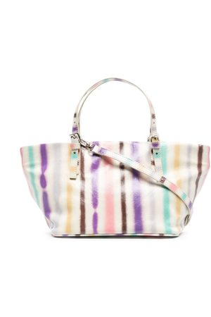 By Far Artist-stripe leather tote bag