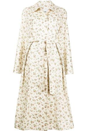 GOEN.J Women Trench Coats - Floral-print trench coat