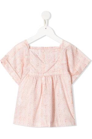 BONPOINT Girls Shirts - Smocked floral-print blouse