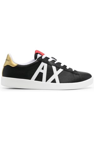 Armani Men Sneakers - Appliqué-logo perforated sneakers