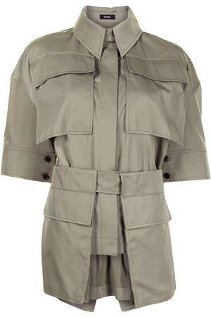 GOEN.J Women Short Sleeve - Belted cotton-blend twill shirt