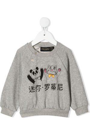 Mini Rodini Sweatshirts - Panda and cat-print sweatshirt