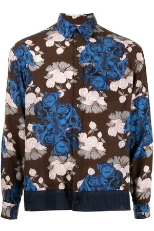 UNDERCOVER Floral-print contrast-panel shirt